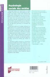 Psychologie Sociale Des Medias Et De La Communication - 4ème de couverture - Format classique