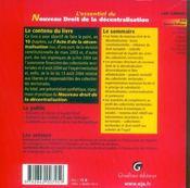 Essentiel Du Nouveau Droit De La Decentralisation (L') - 4ème de couverture - Format classique