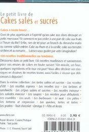 De cakes salés et sucrés - 4ème de couverture - Format classique
