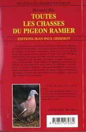 Toutes les chasses du pigeon ramier - 4ème de couverture - Format classique