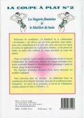 La coupe a plat no2 : lingerie féminine et maillot de bain - 4ème de couverture - Format classique