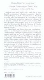 Dieu En France Et Aux Etats Unis - 4ème de couverture - Format classique