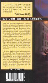 Le jeu de la passion - 4ème de couverture - Format classique