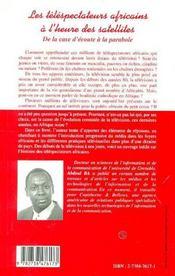 Les Telespectateurs Africains A L'Heure Des Satellites ; De La Case D'Ecoute A La Parabole - 4ème de couverture - Format classique