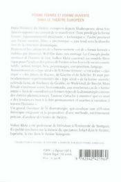 Forme Fermee Et Forme Ouverte Dans Le Theatre Europeen - 4ème de couverture - Format classique