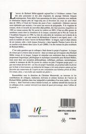 Richard Millet : La Langue Du Roman - 4ème de couverture - Format classique