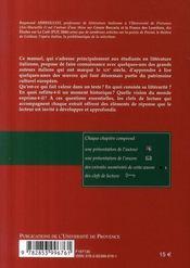 La littérature italienne au XIX siècle ; clefs de lecture - 4ème de couverture - Format classique