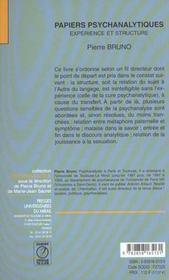Papiers Psychanalytiques. - 4ème de couverture - Format classique