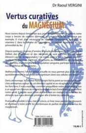 Vertus curatives du magnésium - 4ème de couverture - Format classique
