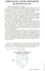 Ferenczi Et L'Ecole Hongroise De Psychanalyse - 4ème de couverture - Format classique