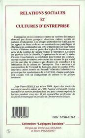 Relations Sociales Et Cultures D'Entreprise - 4ème de couverture - Format classique