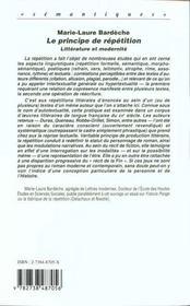 Le Principe De Repetition ; Litterature Et Modernite - 4ème de couverture - Format classique