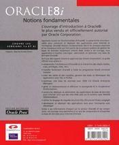 Oracle 8i Notions Fondamentales - 4ème de couverture - Format classique