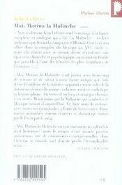 Moi, Marina la malinche - 4ème de couverture - Format classique