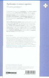 Psychanalyse et sciences cognitives - 4ème de couverture - Format classique