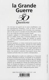 La grande guerre en 30 questions - 4ème de couverture - Format classique