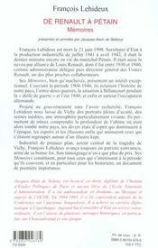 De Renault A Petain - 4ème de couverture - Format classique