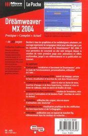 Dreamweaver Mx 2004 Poche - 4ème de couverture - Format classique