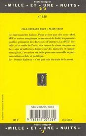 Plein Tarif - 4ème de couverture - Format classique