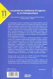 L'essentiel en médecine d'urgence et thérapeutique ; de la plainte du patient à la décision thérapeutique - 4ème de couverture - Format classique