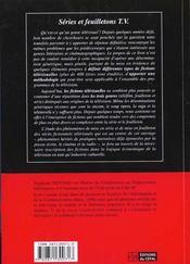 Series Et Feuilletons Tv : Pour Une Typologie Des Fictions Televisuelles - 4ème de couverture - Format classique