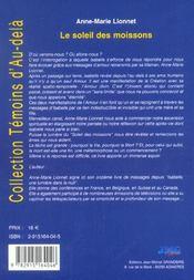 Soleil Des Moissons (Le) - 4ème de couverture - Format classique