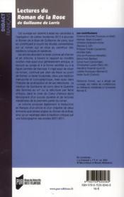 Lectures du roman de la rose de Guillaume de Lorris - 4ème de couverture - Format classique