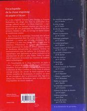 Encyclopédie de la chose imprime - 4ème de couverture - Format classique