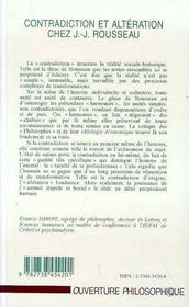 Contradiction Et Alteration Chez Jean-Jacques Rousseau - 4ème de couverture - Format classique