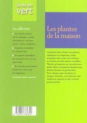 Les plantes de la maison - 4ème de couverture - Format classique