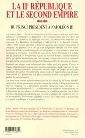La Deuxieme Republique Et Le Second Empire - 4ème de couverture - Format classique