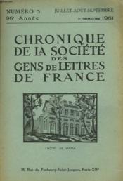 CHRONIQUE DE LA SOCIETE DES GENS DE LETTRES DE FRANCE N°3, 96e ANNEE ( 3e TRIMESTRE 1961) - Couverture - Format classique