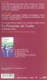 La promesse de l'aube de romain gary - 4ème de couverture - Format classique