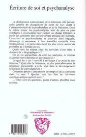 Ecriture De Soi Et Psychanalyse - 4ème de couverture - Format classique