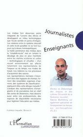 Journalistes Enseignants ; Concurrence Ou Interaction - 4ème de couverture - Format classique
