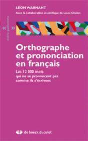 Orthographe et prononciation en français - Couverture - Format classique