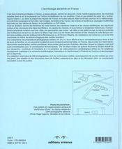 Archeologie Aerienne En France - 4ème de couverture - Format classique