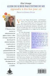 Guide Survie Par Estime De Soi - 4ème de couverture - Format classique