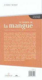 Le baiser de la mangue - 4ème de couverture - Format classique