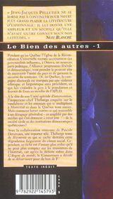 Le bien des autres t.1 - 4ème de couverture - Format classique