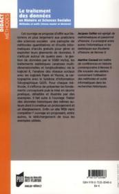 Traitement des données en histoire et sciences sociales - 4ème de couverture - Format classique