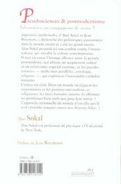 Pseudosciences Et Postmodernisme - 4ème de couverture - Format classique