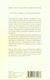 Eloge De La Lumiere Au Temps Des Dinosaures - 4ème de couverture - Format classique