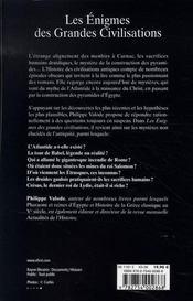 Les enigmes des grandes civilisations - 4ème de couverture - Format classique