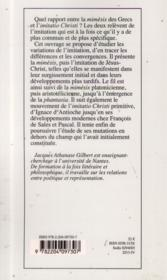 Variations De L'Imitation Une Poetique De L'Apparaitre - 4ème de couverture - Format classique