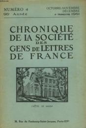 CHRONIQUE DE LA SOCIETE DES GENS DE LETTRES DE FRANCE N°4, 96e ANNEE ( 4e TRIMESTRE 1961) - Couverture - Format classique