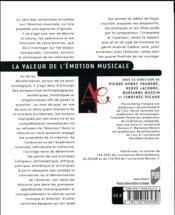 La valeur de l'émotion musicale - 4ème de couverture - Format classique