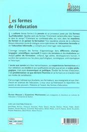 Les Formes De L'Education Variete Et Variations - 4ème de couverture - Format classique