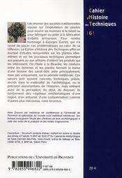 Plantes exploitées, plantes cultivées ; cultures, techniques et discours ; études offertes à Georges Comet - 4ème de couverture - Format classique