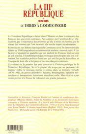La Troisieme Republique T1 De Thiers A Casimir-Perier 1870-1895 - 4ème de couverture - Format classique